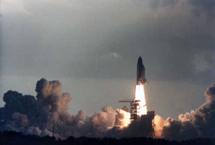 Sally Ride launches in space